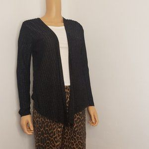 Nic+Zoe Black Sparkle Ribbed Open Front Cardigan M